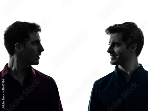 two  men twin brother friends looking at each others silhouette плакат