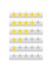 Rating stars isolated on gray
