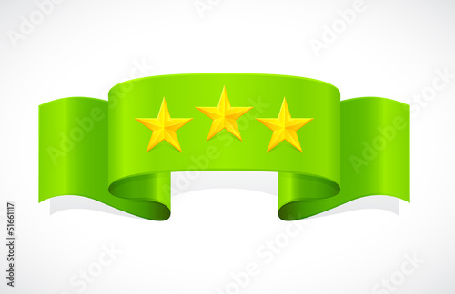 three stars on green band