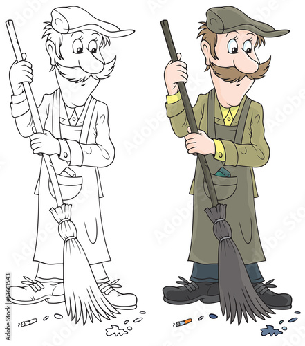 Yardman sweeping with a broom