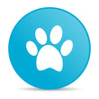 animal footprint blue circle web glossy icon