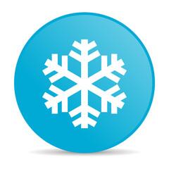 snowflake blue circle web glossy icon