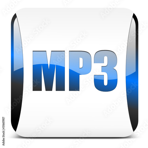 mp3 button, blau