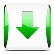 arrow down, button glossy green