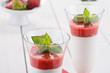 Panna cotta con mousse di fragola