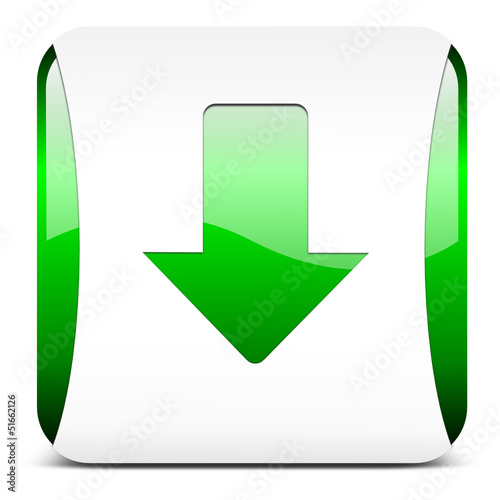 arrow down, button glossy green