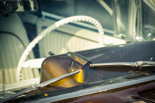retro styled vehicle windshield and steering wheel
