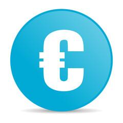 euro blue circle web glossy icon