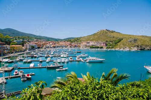 Aluminium Port with many yachts on summer day