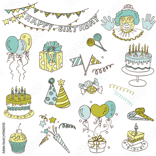 Scrapbook Design Elements - Birthday Party Set - in vector
