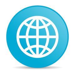 earth blue circle web glossy icon