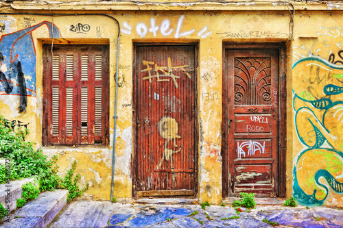 Facade of an abandoned house in Plaka district,  Athens
