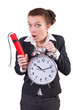 Businesswoman with dynamite and clock