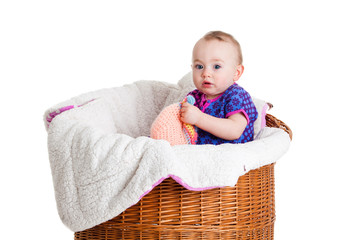 Baby Girl Sitting in the  Basket.
