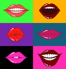 Set of isolated female lips