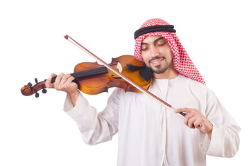 Arab man playing music on white