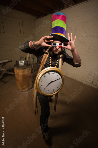 Goofy Poser with Large Clock