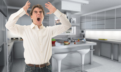Angry man in the kitchen