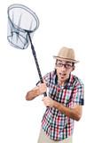 Gardener with net isolated on white