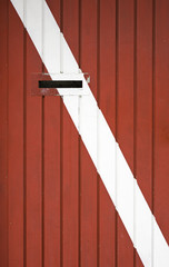 Red and white door