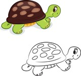 Cartoon turtle. Coloring book. Vector illustration