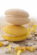 yellow and white macaroons
