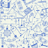 Physics doodles seamless pattern poster