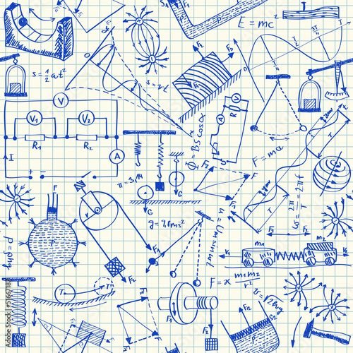 Physics doodles seamless pattern