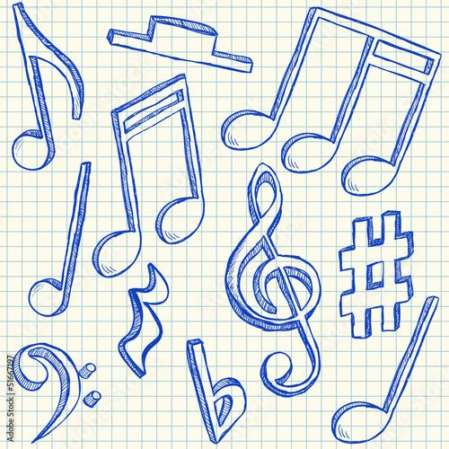 Musical notes doodles