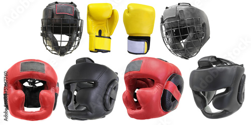 boxing gloves and helmets isolated under the white background