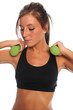 Woman Curling Dumbbells