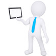 3d man holding tablet PC