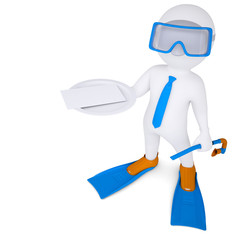 3d man with flippers holds white card on plate
