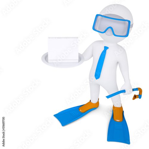 3d man with flippers holds calendar