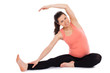 Beautiful pregnant woman working out isolated
