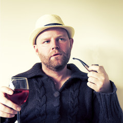 Man with Pipe and Wine