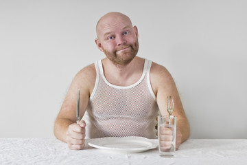 Hungry and Happy Man