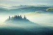 morning on countryside, San Quirico d´Orcia, Tuscany, Italy