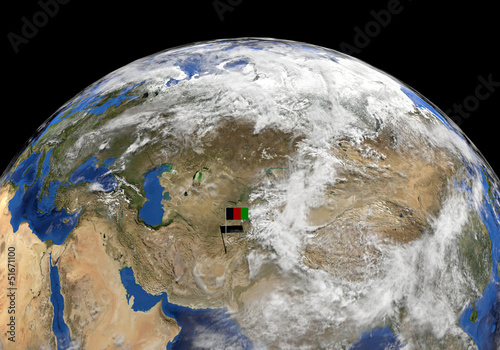 Afghanistan flag on pole on earth globe illustration