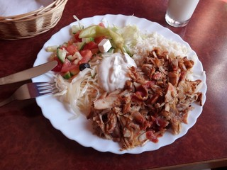 Doner Kebab and Rice on a plate
