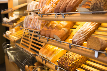 Bread in a bakery or baker's shop