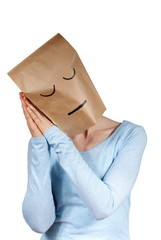 a sleeping paper bag head