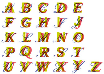 ALPHABET de lettrines Triple