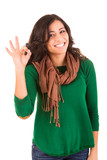 Happy woman showing Ok sign