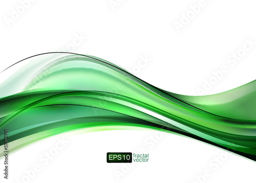 Elegant green vector wave on white background