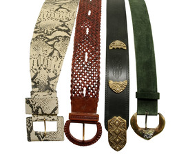 variety of ornate leather belts, isolated