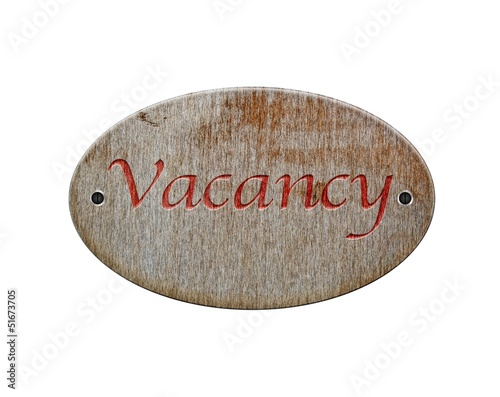 Wooden sign of Vacancy.