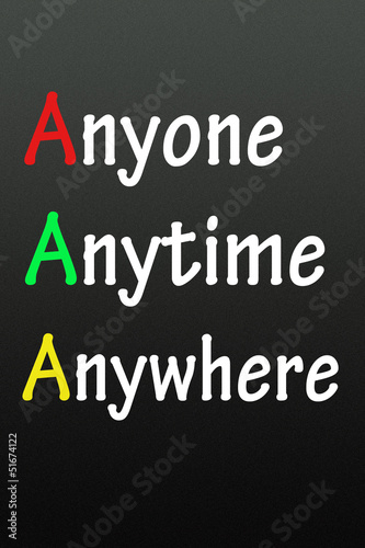 anyone,anytime and anywhere symbol
