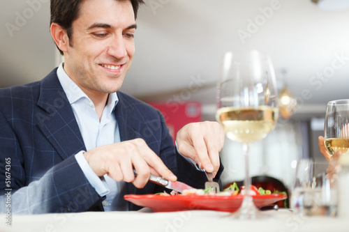 Man having dinner