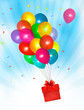 Holiday background with colorful balloons and gift box. Vector